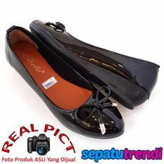 Ongkos Kirim Trendishoes Sepatu Wedges Wanita Pita Elegan Bo163 Hitam Di Indonesia