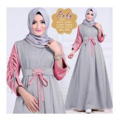Katalog Trendshopee Gamis Wanita Kombinasi Warna Ruby Abu Terbaru