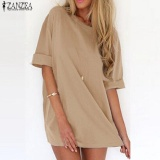Review Trendy Zanzea Musim Panas Wanita Kaos Superbesar Casual Solid Pesta Panjang Kemeja Mini Dress Khaki Intl Zanzea