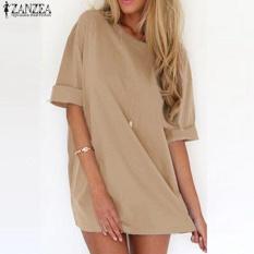 Harga Trendy Zanzea Musim Panas Wanita Kaos Superbesar Casual Solid Pesta Panjang Kemeja Mini Dress Khaki Intl Zanzea Ori