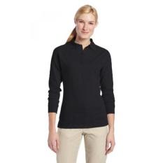 TRU-SPEC Wanita 24-7 Katun Poliester Panjang Lengan Polo Kaus, Hitam,-Internasional