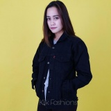 Iklan Trucker Denim Jaket Cewe Regular Oversize Hitam Best Seller