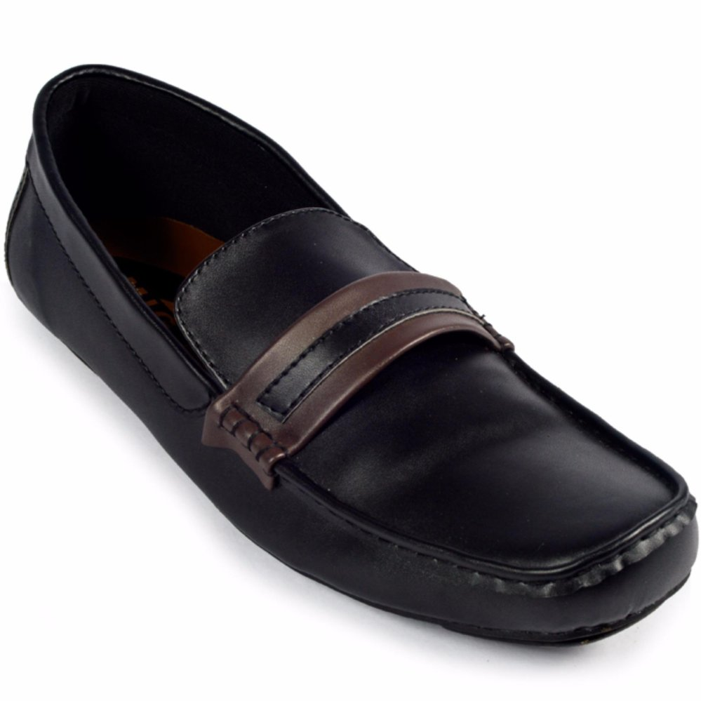 Sepatu Santai Casual Loafer Slip On Kulit Trumph Eagle Moccasin Black