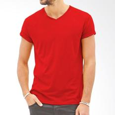 Tshirt Polos V-Neck Pria/Wanita Multiwarna Cotton Combed Size Fit M to L