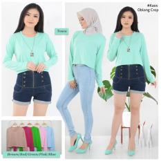 MichelleStore Kaos / T-shirt / Baju / Crop Top Polos Long Sleeve Green