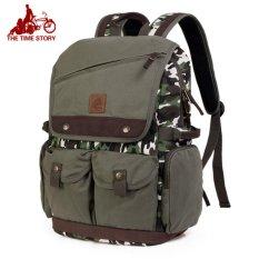 TTS Tas loreng army canvas Bag fashion men Tas ransel kanvas Tas punggung pria [Loreng Army ]