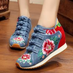 Sepatu Kain Wanita Sol Tendon Hak Wedge Bordiran Gaya Etnik (Kupu-Kupu Merah) Sepatu Wanita Datar Sepatu