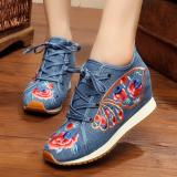 Review Sepatu Kain Wanita Sol Tendon Hak Wedges Bordiran Gaya Etnik Kupu Kupu Biru Sepatu Wanita Flat Shoes Oem
