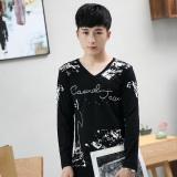Tuan 3D Musim Gugur Baru Korea Fashion Style Slim T Shirt Lengan Panjang Caa Hitam Diskon Tiongkok