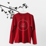 Harga Tumblr Tee T Shirt Kaos Wanita Lengan Panjang Stay Simple Maroon Merk 1Fashion