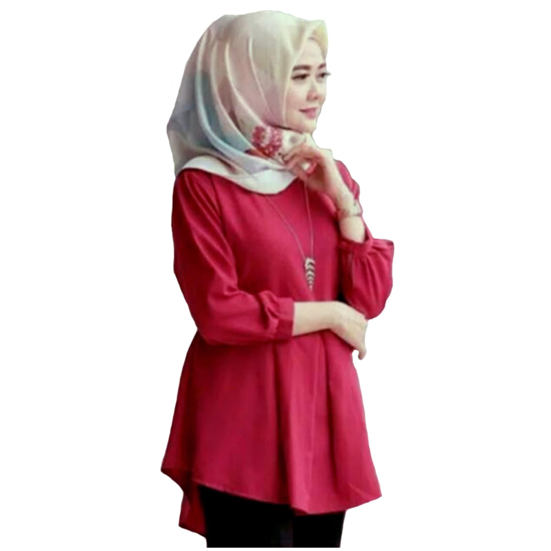 HARGA MURAH Tunik Atasan Wanita - Blouse Muslim Dhilla Top - Pink ... bafee36515
