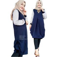 Harga Tunik Atasan Wanita Blouse Muslim Milla Navy Satu Set