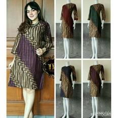 Beli Tunik Batik Dress Batik Terbaru Bahan Katun Motif Parang Bob312 Ungu Multi Murah