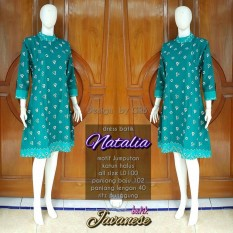 tunik blouse blus batik dress bahan katun motif jumputan warna hijau