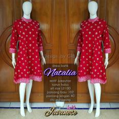 tunik blouse blus batik dress bahan katun motif jumputan warna Merah
