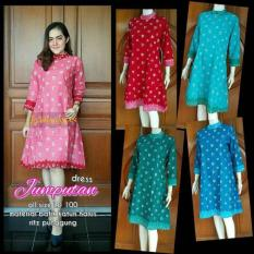tunik blouse blus batik dress bahan katun motif jumputan warna pink