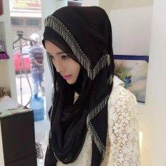 Sorban Syal Scarf Fringed Logam Wanita Hui Gaya Rakyat Cover Warna Hitam-Intl