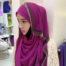 Sorban Syal Scarf Fringed Logam Wanita Hui Gaya Rakyat Cover Warna Violet-Intl