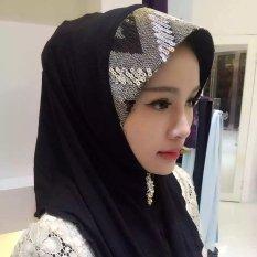 Turban Sequin Lengan Kepala Wanita Musim Panas Scarf Hui Gaya Rakyat Warna-warni Jilbab Hitam-Intl