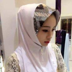 Turban Sequin Lengan Kepala Wanita Musim Panas Scarf Hui Gaya Rakyat Warna-warni Jilbab Putih-Intl