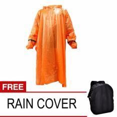 Promo Twin Elephant Jas Hujan Poncho Dengan Lengan Tangan Orange Free Rain Cofer Ransel Polos Mtc