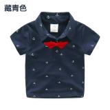 Spesifikasi Sayang Tx 7053 Korea Baru Anak Laki Laki Anak Anak Baju Dalaman Kerah Turndown Lengan Pendek T Shirt Biru Tua Yg Baik