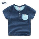 Review Pada Tx 8265 Baru Anak Anak Leher Bulat T Shirt Warna Solid Lengan Pendek T Shirt Biru