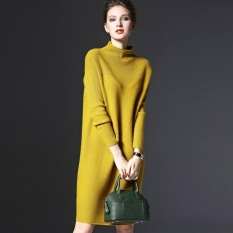 Beli Ubest Loose Sweater Turtleneck Warna Solid Wanita Lengan Panjang Kasual Rajutan Dress Intl Online Murah
