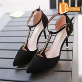 Harga Ubuy Wanita Desain Korea Rhinestones Lady Fashion Bisnis Pesta English Bertumit Tinggi Model Sepatu Menunjuk Toe Suede Kulit Sepatu Hitam Ubuy Ori