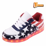 Harga Ubuy Fashion Lampu Led Renda Bercahaya Sepatu Olahraga Sepatu Unisex Biru Bendera Amerika Kasual Bintang Sepatu Pria Intl Terbaru
