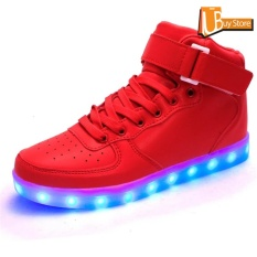 Jual Cepat Ubuy High Top Usb Charging Led Shoes Flashing Fashion Sneakers For Men Red Intl