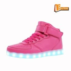 Promo Ubuy Tinggi Top Usb Pengisian Led Sepatu Berkedip Fashion Sneakers Untuk Wanita Rose Intl Murah