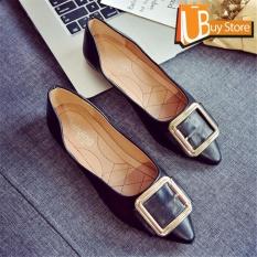 Jual Ubuy Wanita Korea Kantor Lady Fashion Bentuk Sepeda Dinonaktifkan Mobil Ban Bisnis Flat Bertumit Sepatu Menunjuk Toe Suede Kulit Mulut Dangkal Sepatu Hitam