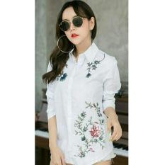 UC Kemeja Yunik Bordir Bunga Lengan Panjang/ Blouse Bordir Polos Cewek / Hem Kemeja Baju Wanita Fashion Bangkok / Blus Korean Style / Blouse Wanita Modern (nixtu rdirbo) NR - Putih