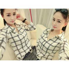 UC Kemeja Blouse YuMie Lengan Panjang/ Blouse Kotak Polos Cewek / Hem Kemeja Baju Wanita Fashion Bangkok / Blus Korean Style / Blouse Wanita Modern (MIYU) NR - PUTIH