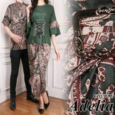 UC Kemeja Batik Pria Couple / Gamis Muslim / Kebaya Dress Wanita / Set Muslimah Pesta Kondangan (eliaad) AK - Hijau