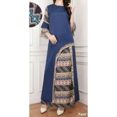 UC Jumpsuit Setelan Batik Wanita Cantik Muslim Luci / Set Baju Dan celana Muslim Muslimah  AK (renamo) - Navy D2C