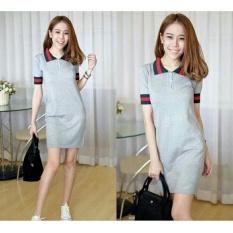Baju Wanita DE Dress Polos Gu Cool Kerah / Mini Dress / Terusan Panjang / Kaos bagus (kw ccigu) NR - ABU