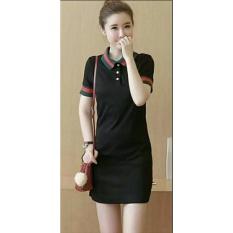 Baju Wanita DE Dress Polos Gu Cool Kerah / Mini Dress / Terusan Panjang / Kaos bagus (kw ccigu) NR - HITAM