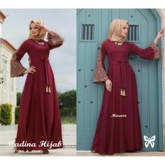 Gamis Terbaru 2019 GAMIS Madina / Hijab Terbaru 2019 / Muslim Syari Set Polos Syar'i Hijab / Busana Muslimah / Kebaya Modern SS - Maroon / Gaun Pesta