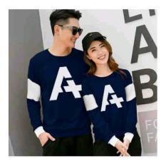 UC Couple Kaos Couple Letter A / Kaos Oblong  / Sweater Couple CP A / T-shirt Pasangan / Pakaian Kembar / Kaos Pria Wanita 2L - Navy D3C