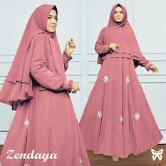 UC Gamis Syari Set 2 in 1 Bunga Tabur Zenda / Baju Muslim Wanita Syar'i / Gaun Pesta Muslimah / Maxi Dress Lengan Panjang / Hijab (NDAYAZE) SS  - PEACH