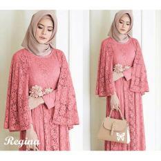 Review Terbaik Uc Maxi Dress Lengan Panjang Regin Gamis Gaun Pesta Muslimah Baju Muslim Wanita Baju Pesta Ginare Ss Peach