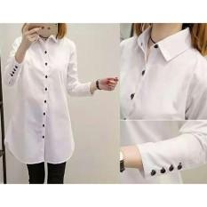 Baju Wanita Shop Kemeja Tunik Polos Aqilla / Kemeja Wanita Lengan Panjang Aqua / Long hem Wanita SS- Putih