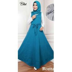 Toko Uc Dress Muslim 2 In 1 Rosi Gamis Remaja Fashion Maxi Syari Simple Elegant Baju Muslim Wanita Sitaro Ss Biru D2C Dekat Sini