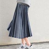 Jual Uebuy Retro Pleated Skirt Blue Color Intl Satu Set