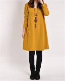 Harga Uebuy Wanita Leher V Atasan Longgar Kasual Hamil Katun Lengan Panjang Gaun Mini With Kantong Kuning Internasional Lengkap