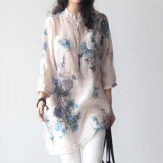 UEBUY Wanita Lengan 3/4 Plus Ukuran Pullover V-Neck Button Shirt Tops Blus Biru Bunga-Internasional