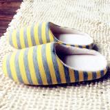 Spesifikasi Uinn Kain Bergaris Bawah Pasangan Wanita Pria Hangat Sandal Non Tergelincir Sepatu Lemon Kuning Intl Terbaik