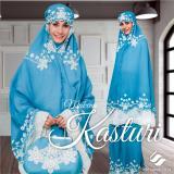 Spesifikasi Ukhuwah Mukena Bordir Kasturi Blue Flower White Murah